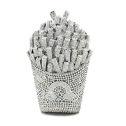women evening party bag diamonds French fry fries rainbow crystal clutches purses,Color 5 silver