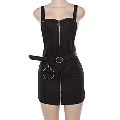 5637394bbc7 ADLISA Slim Sleeveless Front Open Zip Suspender A-line Bib Pocket Fitted  Overall Dress Party