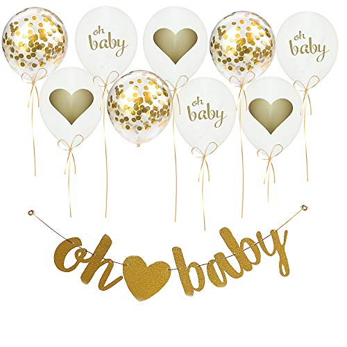 Baby Shower Decorations Oh Baby Unisex Hanging Banner Neutral Decor, 9PCS w/Balloons, Ribbons, Confetti | Gold White Glitter | Gender Reveal Party Pregnancy Announcement for Girl/Boy