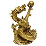Chinese Fengshui Handmade Brass Dragon Statue Golden Wealth Figurine Home Decor Gift Collectible BS078