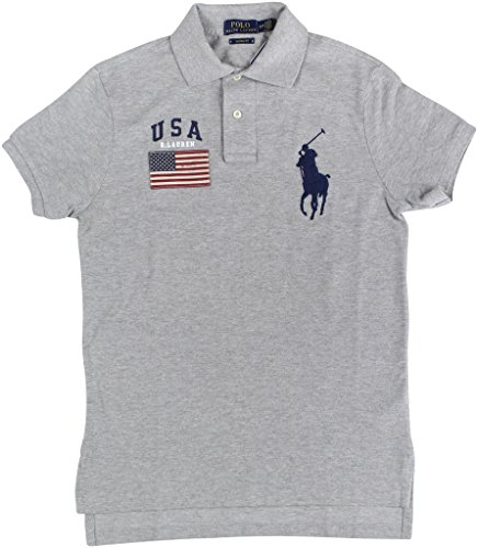 Polo Ralph Lauren Men's Custom Fit USA Flag Big Pony Polo Shirt (X-Large, Andover Heather - Watch Polo Big