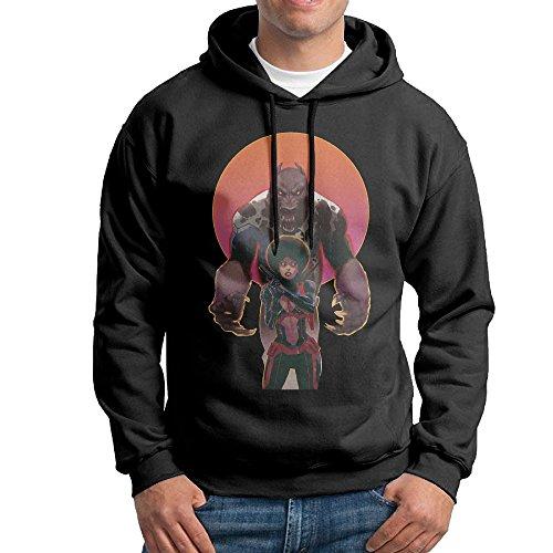 [FUOALF Mens Pullover Iron Fist Misty Knight Hooded Sweatshirt Black XL] (Dark Souls Black Knight Costume)