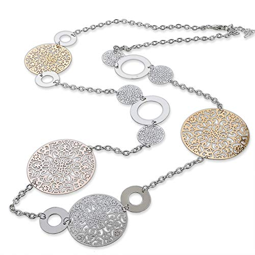 (Long Way Vintage Long Statement Necklace Real Gold Silver Plated Round Flower Women Necklaces & Pendants Fashion Jewelry,