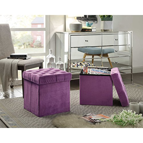 Foldable Storage Ottoman Cube Foot Rest, Purple (2 Pack)