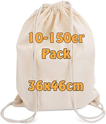 Cottonbagjoe Moderno Turn Bolsa Algodón mochila bolsa de tela con cordón Natural 36 X 46 cm de 50 bolsas: Amazon.es: Deportes y aire libre