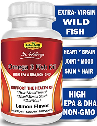 Dr. Goldbergs Omega 3 Fish Oil Supplement HIGH EPA & DHA, Support Heart Joint Brain Eyes Skin & Immune System, Pharmaceutical Grade, High Concentration, Best Triple Strength, Burp-Less, Non-GMO
