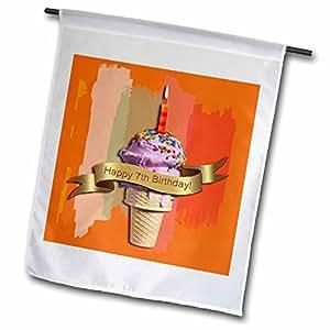 Beverly Turner Birthday Design - Happy 7th Birthday, Strawberry Ice Cream Cone on Abstract, Orange - 18 x 27 inch Garden Flag (fl_43501_2)
