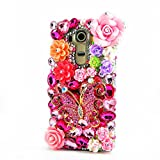 STENES LG X Charge Case - Stylish - 100+ Bling Crystal - 3D Handmade Butterfly Big Rose Flowers Design Protective Case for LG X Power 2 /LG Fiesta LTE/LG X Charge - Colorful