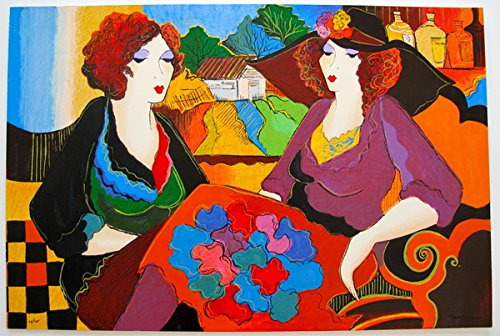 Art by Patricia Govezensky Villa St. Tropez Hand Signed Limited Edition Giclee Print. After the Original Painting or Drawing. On Canvas Measures 34.5 Inches X 23