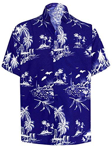 (LA LEELA Likre Polyester Shirt Royal Blue 519 Small | Chest 38