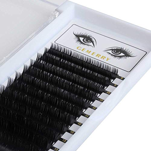 GEMERRY 0.07mm D Curl Eye-lash Extensions, 3D Silk Faux Mink Classic Individual Lash Extensions 8-14mm Mixed Tray Professional Salon Perfect Use