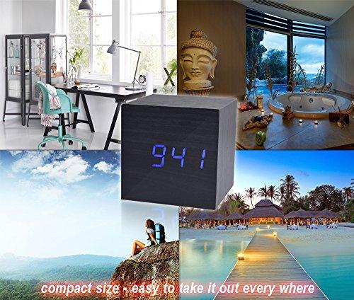 Beautys 101 Wooden Digital Alarm Clock- Premium Multifunction Electronic LED Digital Alarm Clock For Bedroom, Kids' Room & Travel- Modern, Stylish & Reliable Alarm Clock (Blue Light - Black Wood) by Beautys 101 (Image #8)
