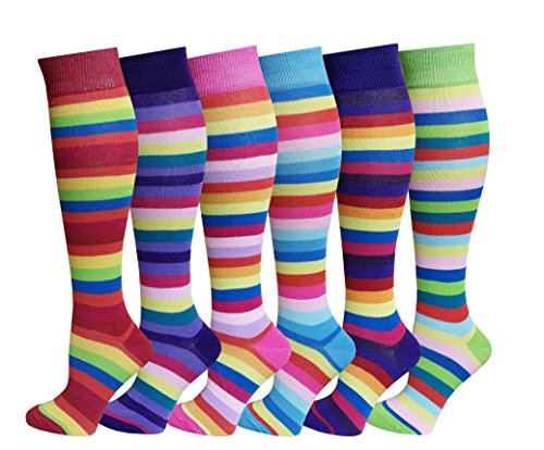 6 Pairs Women's Fancy Design Multi Colorful Patterned Knee High Socks,Rainbow Stripes,Size 9-11 ( Fit women shoe size 4 to 10 )
