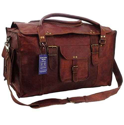 21 Inch Mens Retro Style Carry on Luggage Flap Duffel Leather Duffel Bag By TOM&CLOVERS ()