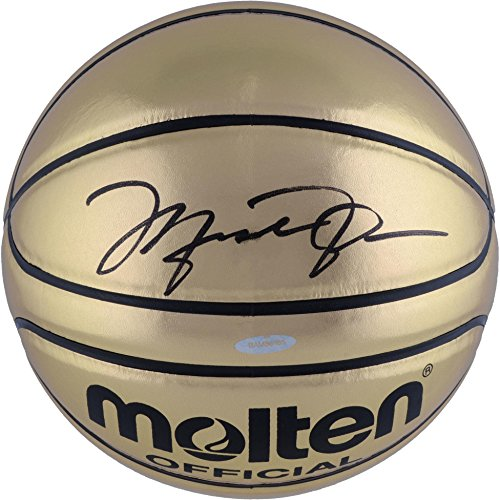 Michael Jordan Chicago Bulls Autographed Molten Gold Trophy Basketball - Upper Deck - Fanatics Authentic -