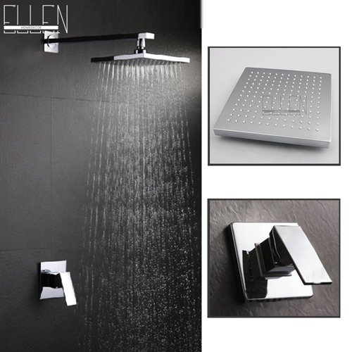 White Electroplating Retro Faucet Bathroom In Wall Shower Set With 8  Rain Shower Chuveiro Set Shower Hotel LED Rain Shower Head,Yellow
