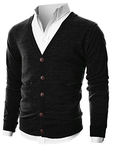 Ohoo Mens Slim Fit Ribbed Knit Cardigan With Pockets/DCC023-BLACK-S