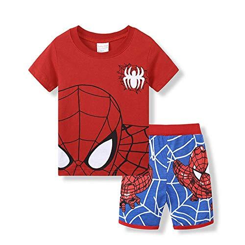 Boys Pajamas 100% Cotton Spiderman Short Kids Snug Fit Pjs Summer Toddler Sleepwear (094, 2T)]()