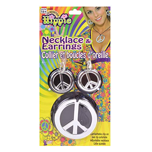 (Bristol Novelty BA256 Peace Sign Necklace and Earrings, Silver, One)