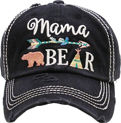 H-212-MB06 Distressed Baseball Cap - Mama Bear (Arrow - Black)