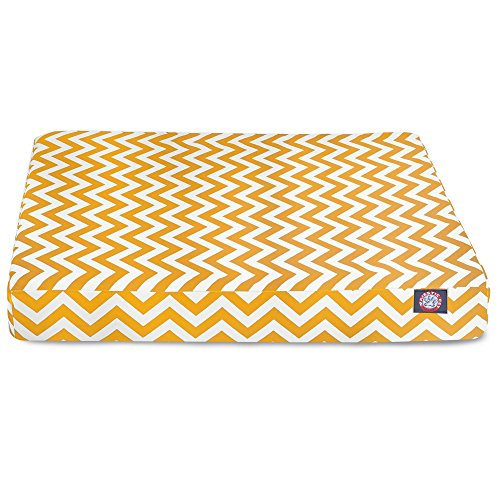durable service Majestic Pet Yellow Chevron Orthopedic Memory Foam Rectangle Dog Bed
