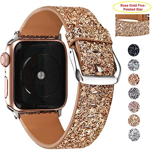 - Greaciary Glitter Bling Band Compatible for Apple Watch 38mm 40mm 42mm 44mm,Leather Luxury Shiny Sparkle Women Replacement iWatch Strap Wristbands for iWatch Series 4/3/2/1