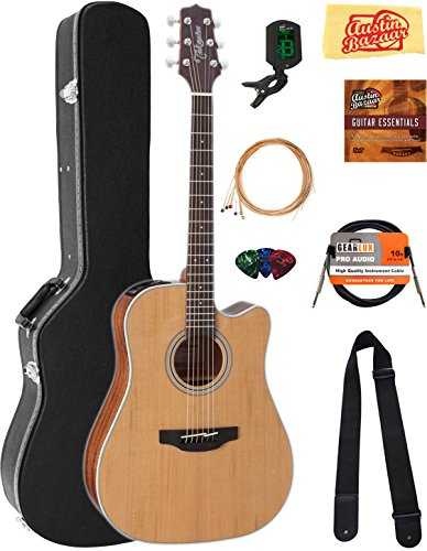 Takamine GD20CENS Dreadnought Cutaway Acoustic-Electric Guitar – Natural Satin Bundle with Hard Case, Cable, Tuner, Strap, Strings, Picks, Austin Bazaar Instructional DVD, and Polishing Cloth