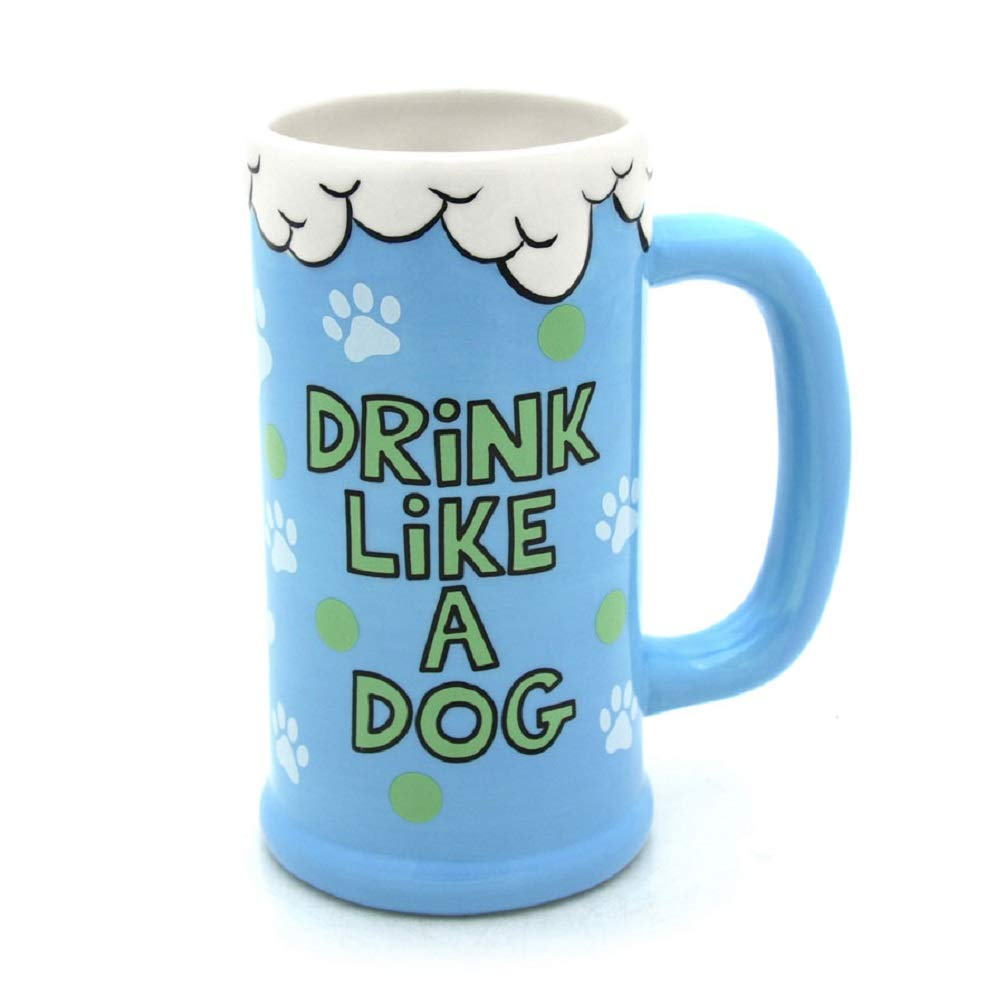 Drink Like a Dog Beer Stein Fathers Day Gift For Dad Our Name is Mudd