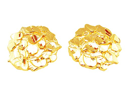 Mens 10k Yellow Gold Nugget Earrings Round Nugget (Ring Gold Nugget Yellow)