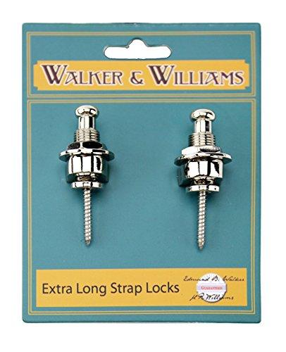Walker & Williams Extra Long Deep Barrel Strap Locks for Thick Guitar Straps