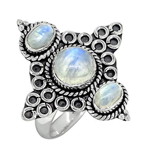 - YoTreasure Rainbow Moonstone Solid 925 Sterling Silver 3-Stone Designer Ring