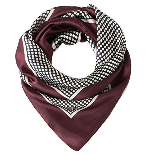 Cyzlann Women's Square Scarves Lightweight Sleeping Wrap Neck Scarfs for Women (dark red white)