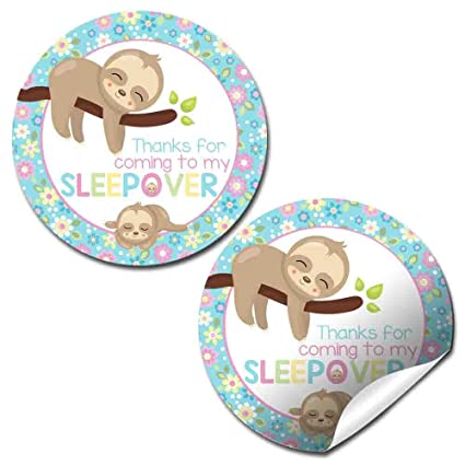 Set of 30 Birthday Baby Shower Party for Girl in Pink Sloth Animal Thank You Sticker Labels