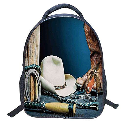 Designer Original Art Print Casual Backpack,Travel Backpack 16Inch Laptop Bag,16 inch,Equestrian Backdrop with Antique Horseshoe Hat Cowboy Texas ()
