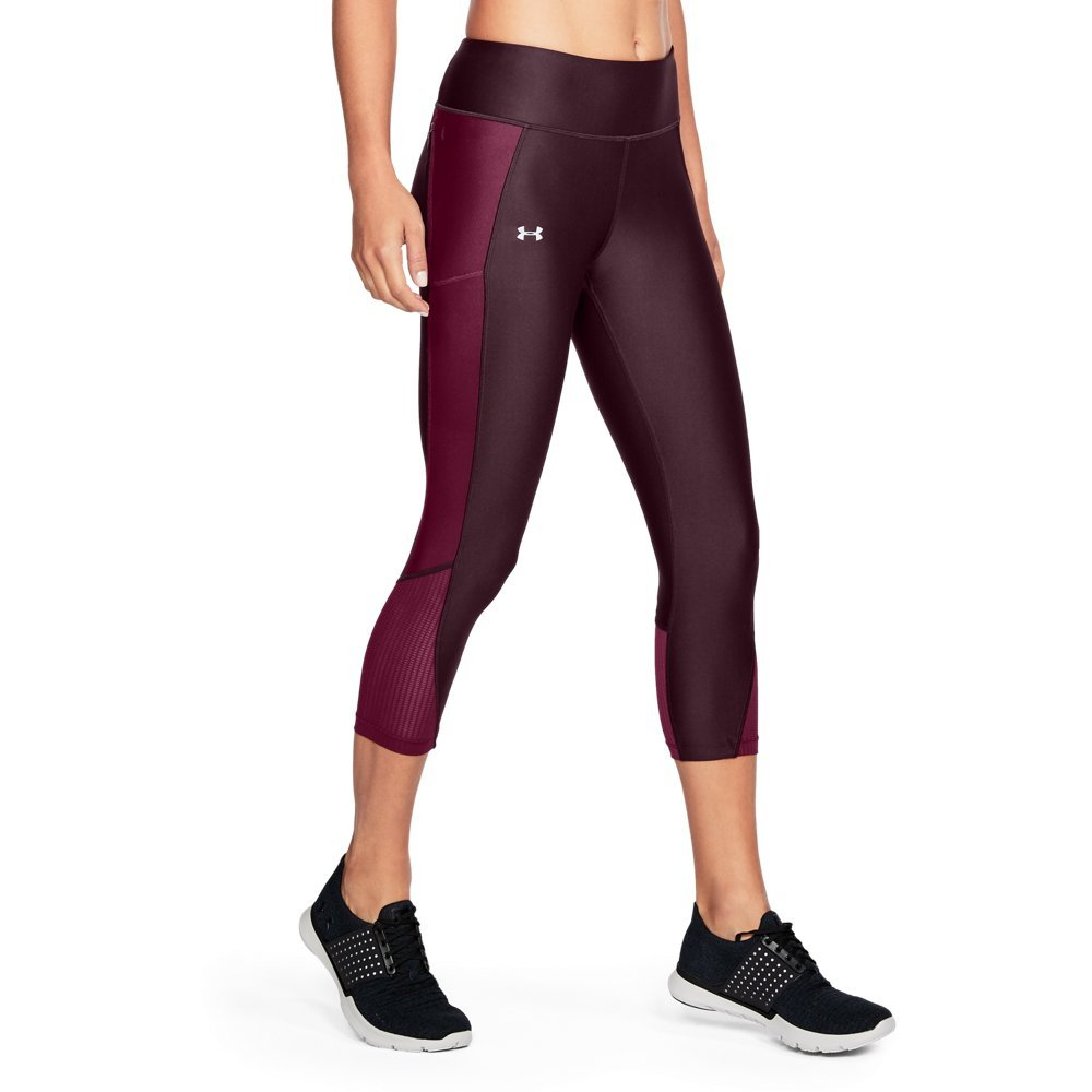 Under Armour Women's Fly-By Capri,Raisin Red (916)/Reflective, X-Small