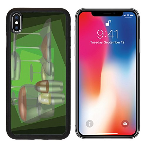 MSD Premium Apple iPhone X Aluminum Backplate Bumper Snap Case Different stemware on a green background IMAGE 30148795 - Elegance Stemware