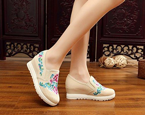 ICEGREY Damen Handgemachte Gestickte Stickerei Blumen Wedge Schuhe Sneaker Beige