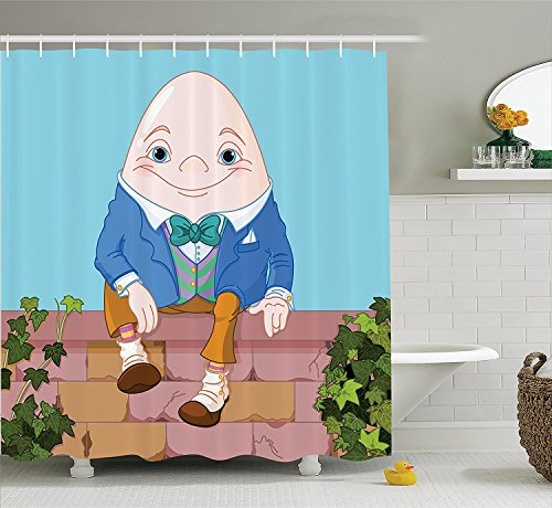 Alice in Wonderland Decorations Collection Egg Humpty Dumpty Sitting on Brick Wall Colorful Cartoon Happiness Love Polyester Fabric Bathroom Shower Curtain