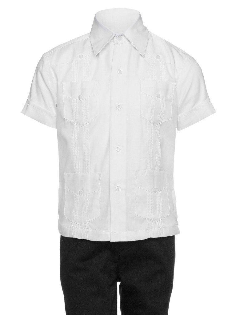 Gentlemens Collection Guayabera Shirt for Boys - Linen Look Cuban Shirt Great for Beach Wedding White Medium