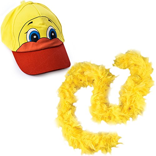 Duck Costume - Ducky Baseball Cap with Yellow Boa - Costume Hats by Funny Party Hats