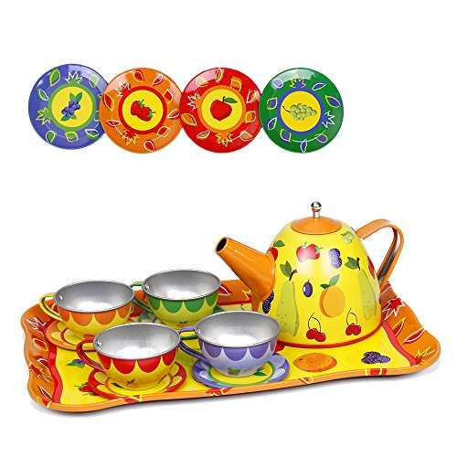Tea Set Toys Play House for Kids Pretend Play Kitchen Toys with 14 Pcs Miniature Teapot Cups Saucers Plates and Trays Party Toys for Toddlers