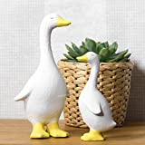 White Ceramic Waddling Duck Ornament (Set of 2 - Small & Large)
