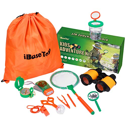 iBaseToy Explorer Kit for Kids, 13Pcs Nature Educational Adventure Kit Children Outdoor Exploration Toys for Hiking, Camping, Include Binoculars, Compass, Magnifying Glass and Backpack