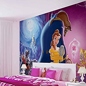 Disney princesses belle beauty beast photo wallpaper for Barbie princess giant wall mural