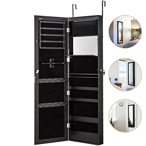 Jewelry Cabinet Armoire with Mirror Led Light Wall Door Mounted Organizer Storage,Black (Wall Armoire Jewelry Mirror)