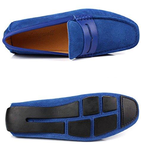 Santimon Mens Casual Comfort Vera Pelle Nabuk Outdoor Scarpe Basse Mocassino Mocassini Blu