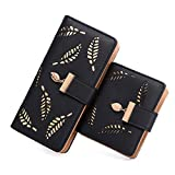 Women's Long short Leather Money Clip Card Case Holder Purse Zipper Buckle Elegant Clutch Wallet(pair) (Black)