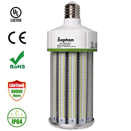400w Hid Metal (Dephen 120W LED Corn Bulb,16200 Lumens (800W Equivalent) 5000K Pure White Large Mogul E39 Base Corn Light Replacement for Metal Halide Bulb, HID, CFL, HPS(AC100-277V))
