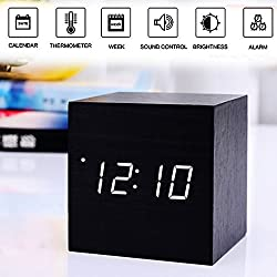 Girlsight Alarm Clock,Wood Digital Alarm Clock, Wooden Wake Up Bedside Travel Alarm Clock with Time Temperature Humidity Sound Control Led Alarm Clock for Home Bedroom Office-square