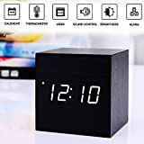 Alarm Clock,Wood Digital Alarm Clock, Wooden Wake Up Bedside Travel Alarm Clock with Time Temperature Humidity Sound Control Led Alarm Clock for Home Bedroom Office-square